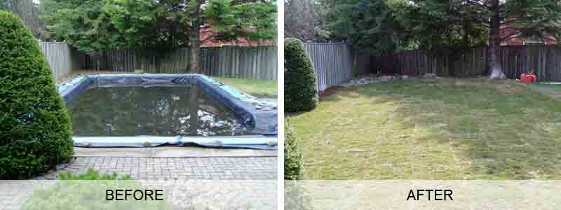 Pool fill in removal and pool demolition company blue 2 for Above ground pool removal ideas